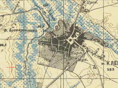 an old Russian map of Kletsk